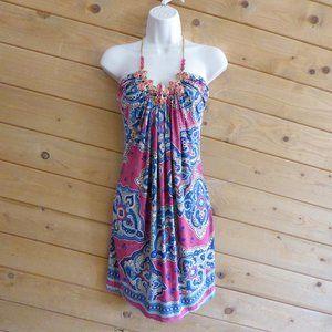 SKY Pink Silk Chain Halter Mini Dress Geometric M